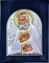 Серафим Саровский. Маленькая серебряная икона.