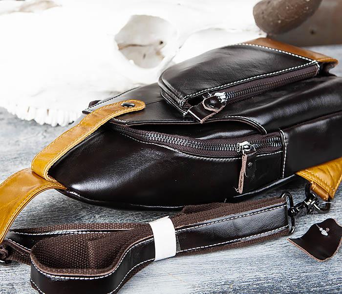 BAG448-1 Небольшой кожаный рюкзак с одной лямкой фото 05