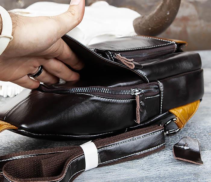 BAG448-1 Небольшой кожаный рюкзак с одной лямкой фото 06
