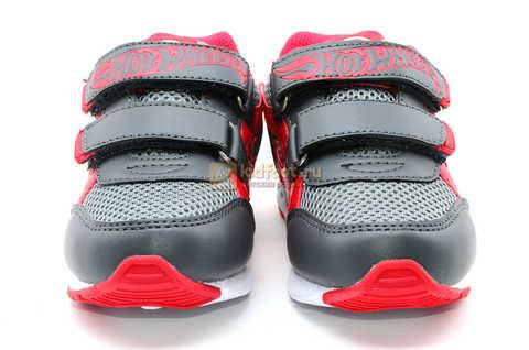 Светящиеся кроссовки Хот Вилс (Hot Wheels) на липучках для мальчиков, цвет серый красный. Изображение 5 из 14.