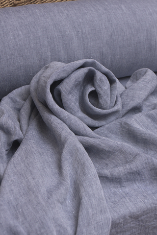 Ткань льняная, смягченная цвет : джинс-меланж