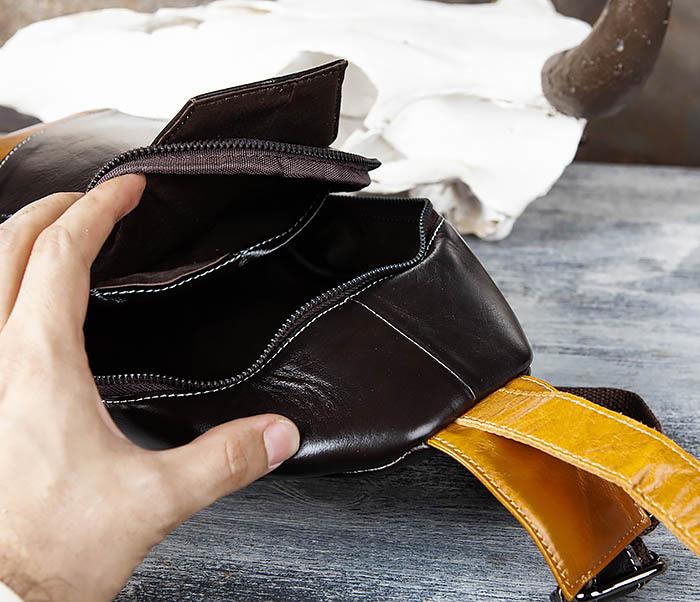 BAG448-1 Небольшой кожаный рюкзак с одной лямкой фото 07