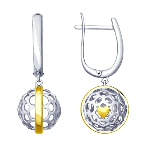 Серьги из серебра с подвесками в форме ажурных шаров от  SOKOLOV