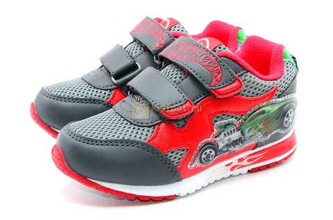 Светящиеся кроссовки Хот Вилс (Hot Wheels) на липучках для мальчиков, цвет серый красный. Изображение 6 из 14.
