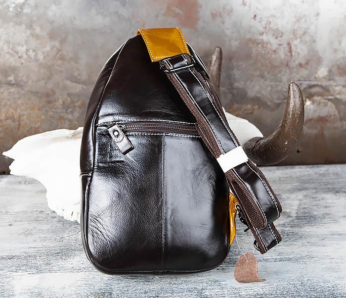 BAG448-1 Небольшой кожаный рюкзак с одной лямкой фото 08