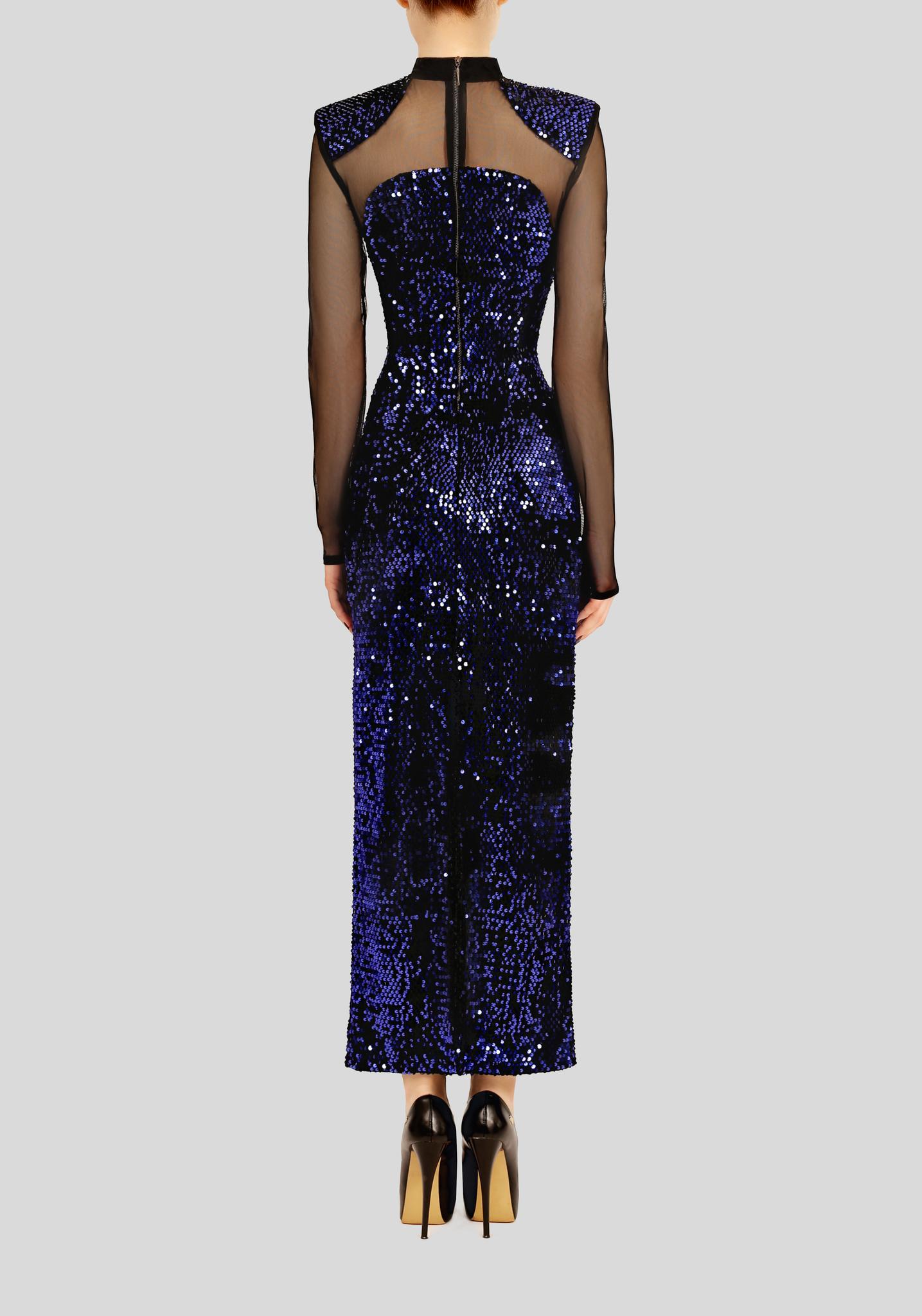 Платье синее макси  с пайетками из бархата