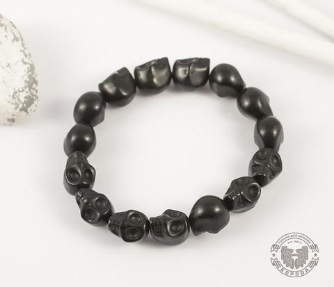 BD101-1 Оригинальный мужской браслет из черепов черного цвета