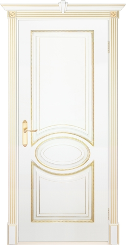 Дверь Prestigio Лувр-4, цвет  белый/патина золото, глухая