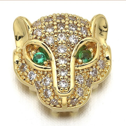 Бусина Леопард с зелеными цирконами 11 мм цвет золото