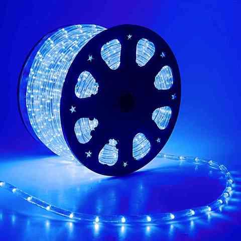 Дюралайт светодиодный, чейзинг, 11мм - 3 жилы - 24 led/m, Синий - 50м