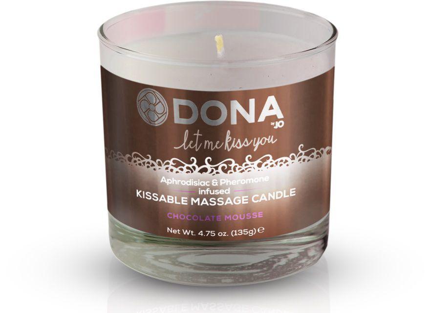 Массажные масла и свечи: Массажная свеча DONA Chocolate Mousse с ароматом шоколадного мусса - 135 гр.
