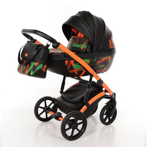 Коляска Tako Neon 3 в 1 TN-02 (черная кожа / оранжевая рама / светится в темноте)