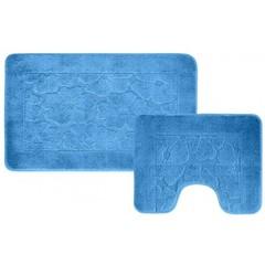 Набор ковриков для ванной BANYOLIN 55х90 см ворс, голубой