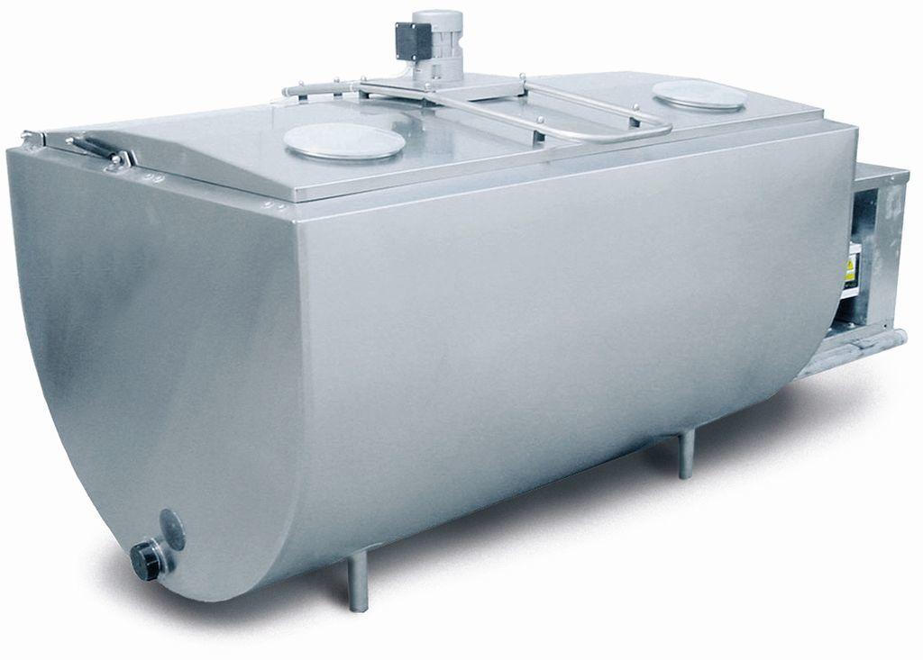 1000 литров | Молочный танк-охладитель, горизонтальный открытый, с комплектом охлаждения, объемом 1000, 1250, 1500, 1900 литров.
