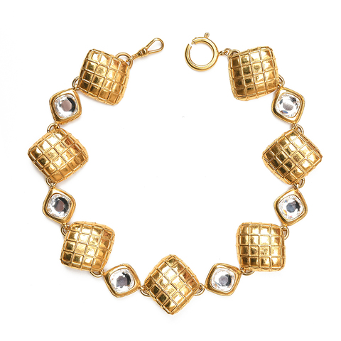 Колье Сhanel  c кристаллами  |  CHANEL Pendant Vintage Matelasse Crystal Long Necklace Gold