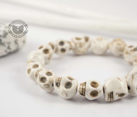 BD101-2 Оригинальный мужской браслет из черепов бежевого цвета