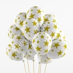 Воздушные шары Золотые звезды на белом