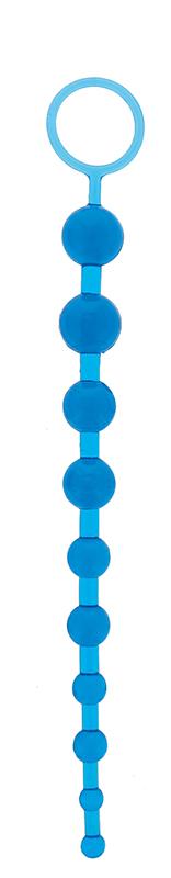 Анальные шарики, цепочки: Синяя анальная цепочка с кольцом ORIENTAL JELLY BUTT BEADS - 26,6 см.
