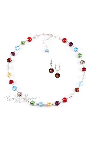 Комплект Carnavale Argento (коричневые серьги на серебре, ожерелье)