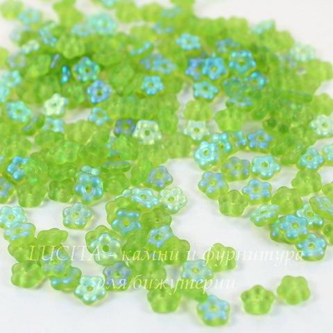 Бусина Buttercup flower Цветочек, 5 мм, перидот, матовая с AB-покрытием
