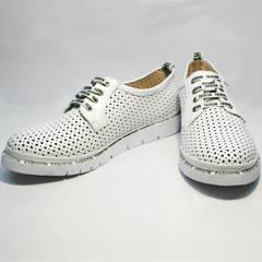 Летние туфли женские кожаные с перфорацией GUERO G177-63 White
