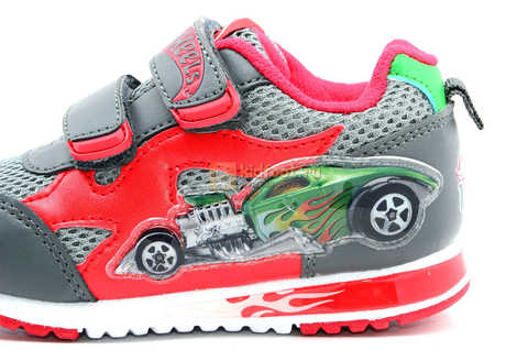 Светящиеся кроссовки Хот Вилс (Hot Wheels) на липучках для мальчиков, цвет серый красный. Изображение 13 из 14.