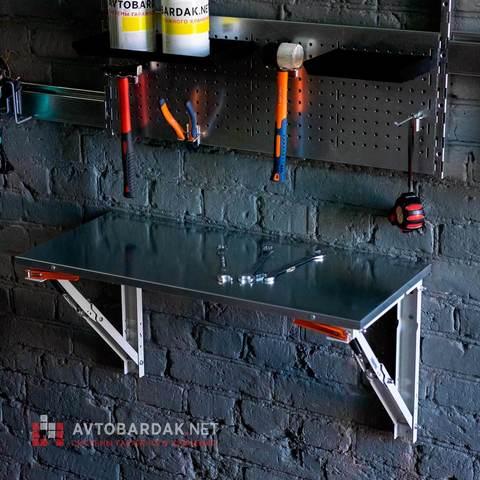Откидной стол в гараж. Длина 800 мм, глубина 400 мм. Нагрузка 200 кг.