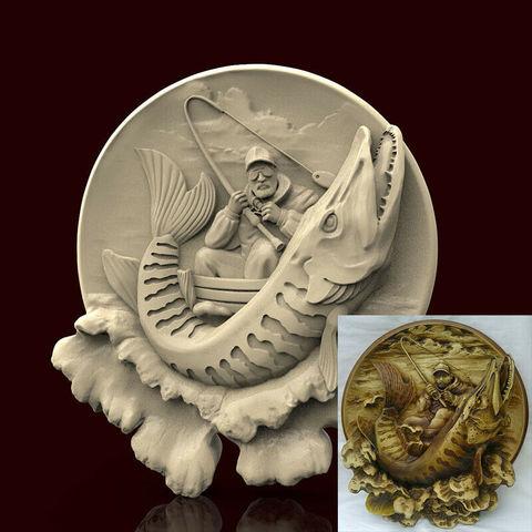 Силиконовый молд   Рыбак   (медальон)  № 0462