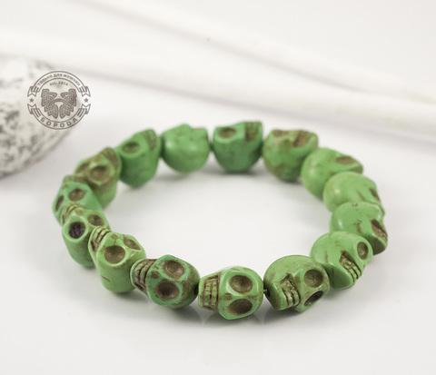 BD101-3 Оригинальный мужской браслет из черепов зеленого цвета