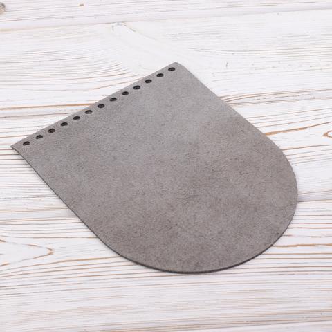 """Клапан для сумочки кожаный """"Серый пулап"""" 19,5 см на 15,5 см"""
