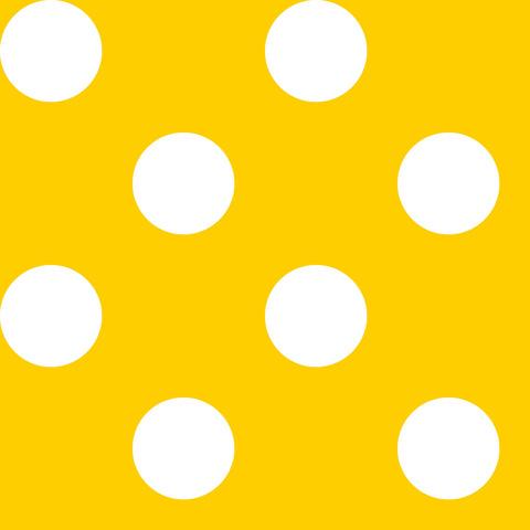 Креп сатин желтый в белый горох 2,5 см