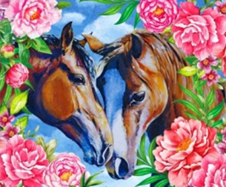 Картина раскраска по номерам 40x50 Лошади в цветах– купить ...