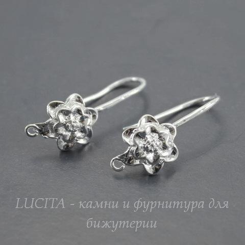 """Швензы - крючки """"Цветок"""" (цвет - серебро) 25х9 мм"""