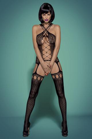 Черный польский сексуальный боди стокинг сетка Obsessive G313 с интимным вырезом