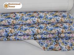 Кожа Карамельно-голубые розы