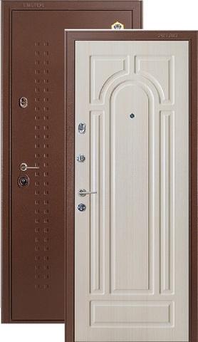 Дверь входная Бульдорс 7 new, 2 замка, 1,5 мм  металл, (медь антик+беленый дуб)