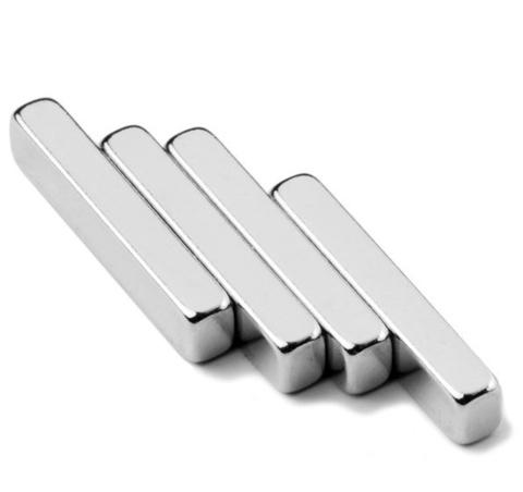 Магнит 30х5х5 мм, N38, никель, неодимовый блок
