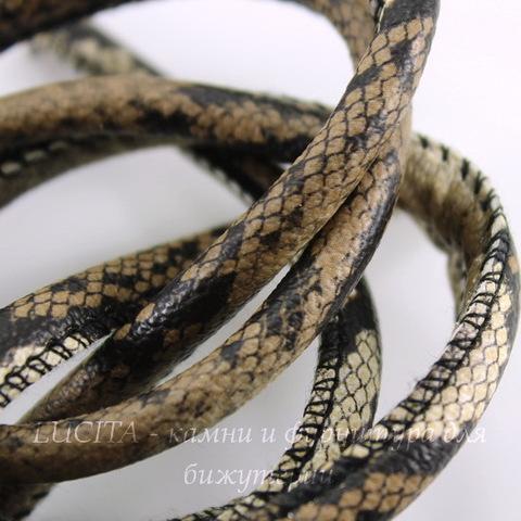 """Шнур (искусств. кожа), 6 мм, """"Змея"""", цвет - коричневый, примерно 1 м"""