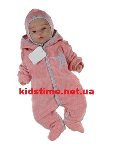 Плюшевый комбинезон для новорожденных Звездочка розовый