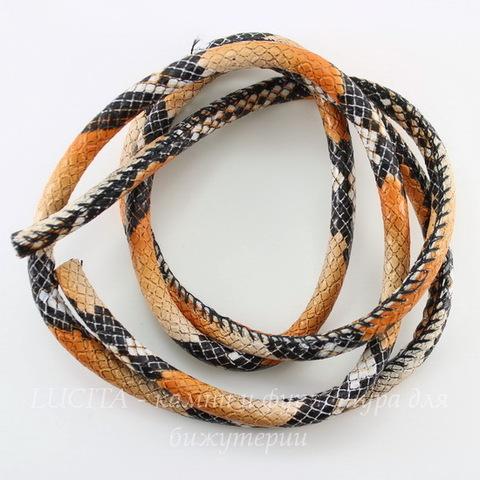"""Шнур (искусств. кожа), 6 мм, """"Змея"""", цвет - оранжевый, 6 мм, примерно 1 м"""