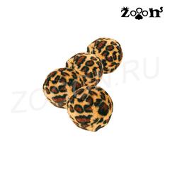 Trixie набор мячиков Леопард с колокольчиками 3,5 см 4шт.