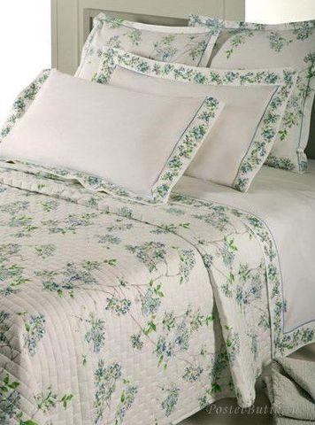 Постельное белье 2 спальное евро Mirabello Fiori Ciliegio голубое
