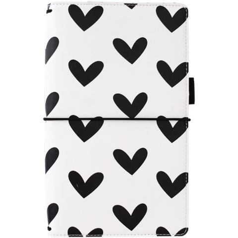 Блокнот -Freckled Fawn Pocket Traveler's Notebook  БЕЗ наполнения - Black & White Hearts
