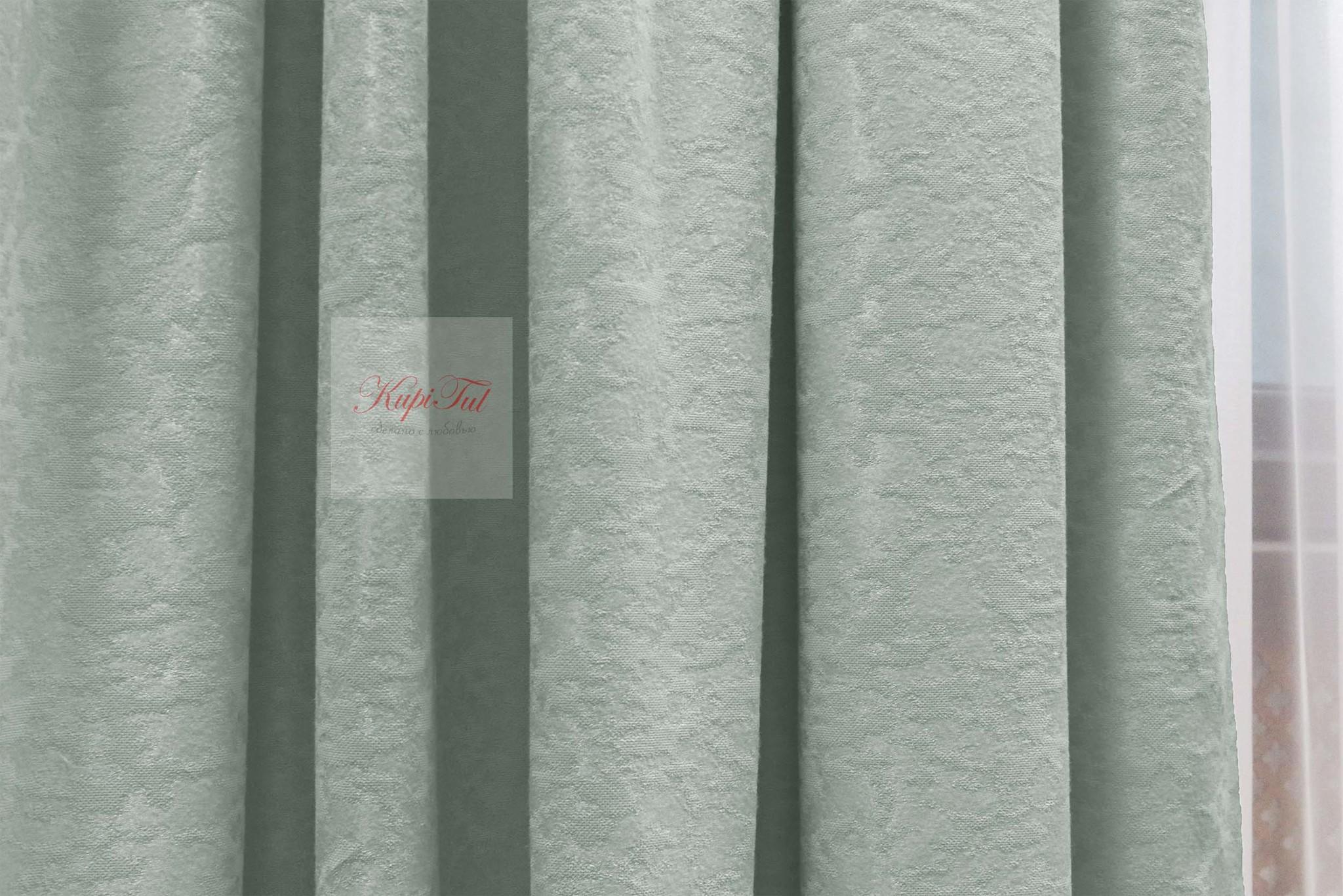 Комплект штор Луи (светлая-бирюза). Шторы из стриженного бархата.