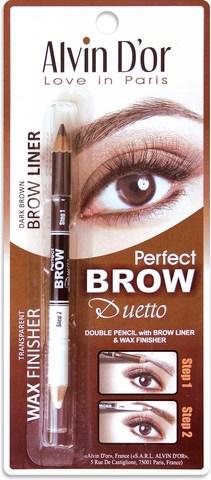 Alvin D`or  Дуэт д/бровей двойной карандаш+Воск Brow Perfect (тон 02 Dark Brown) P1-4