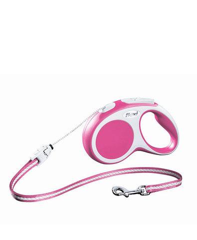 Flexi поводок-рулетка XS, трос 3 м, на 8 кг (розовый)