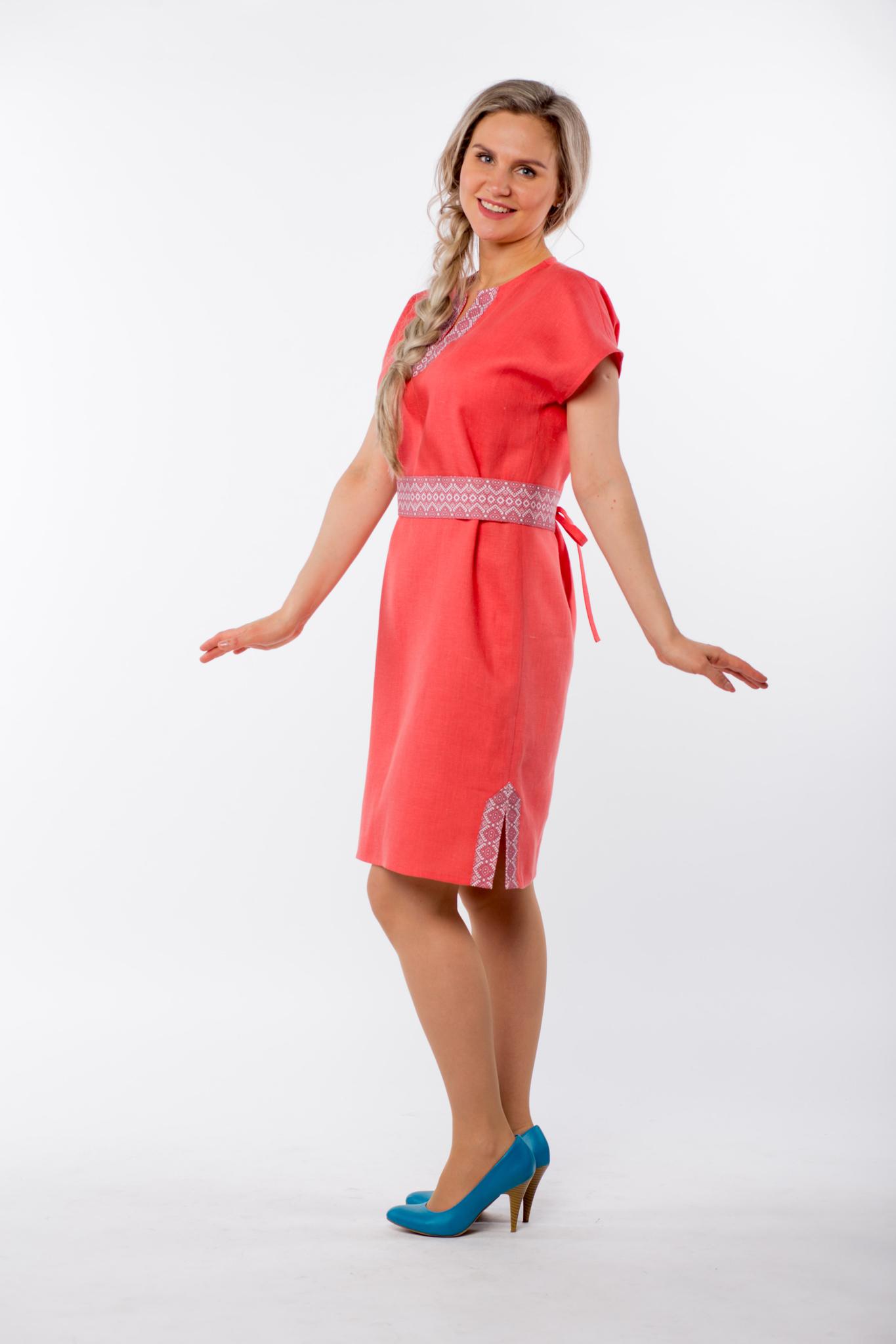 Платье льняное Шафран вид сбоку