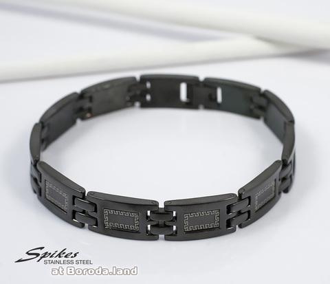 SSBH-0102 Мужской черный браслет &#34Spikes&#34 из стали на застежке (21 см)