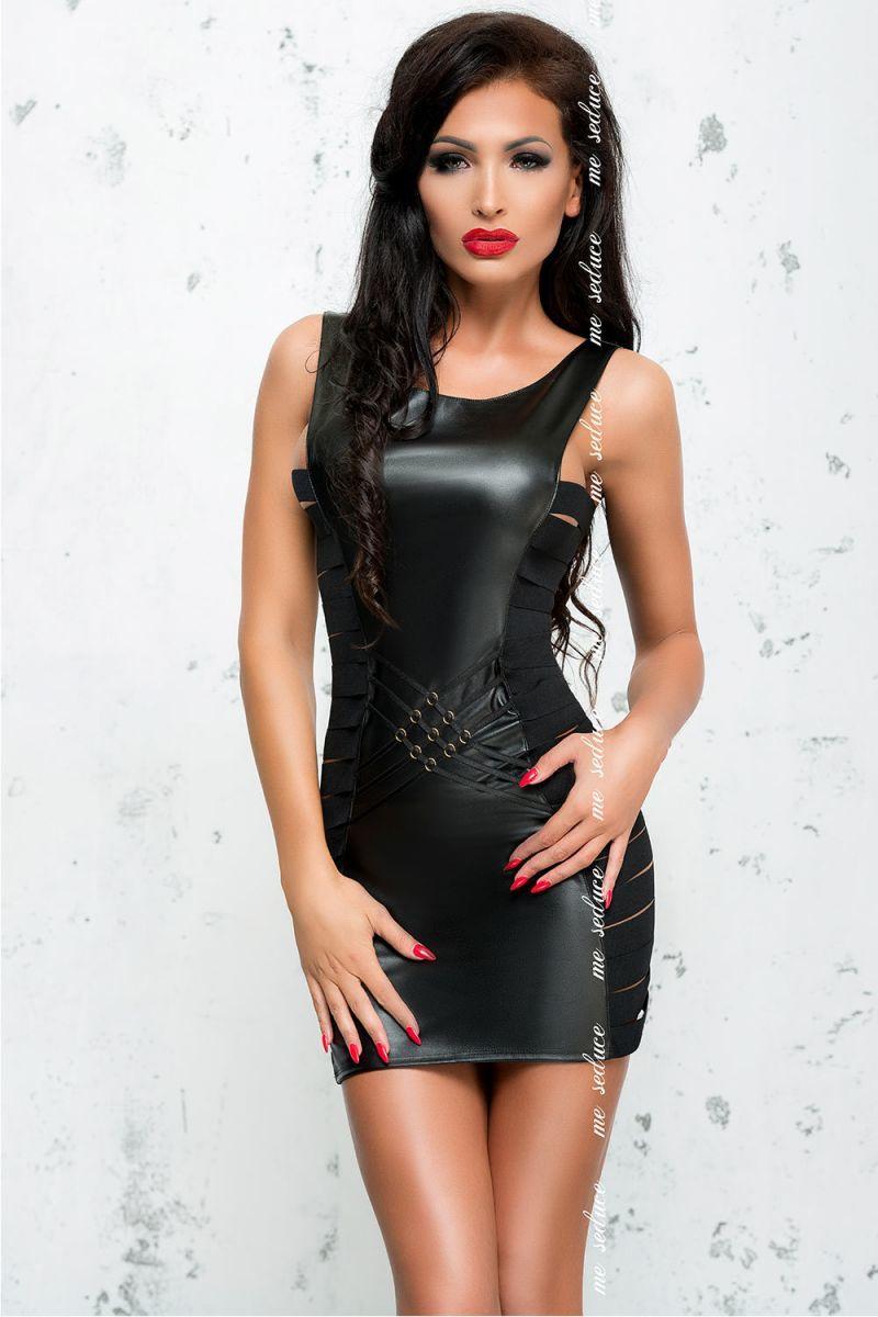 БОЛЬШИЕ размеры: Облегающее платье с эффектом мокрого блеска Lea