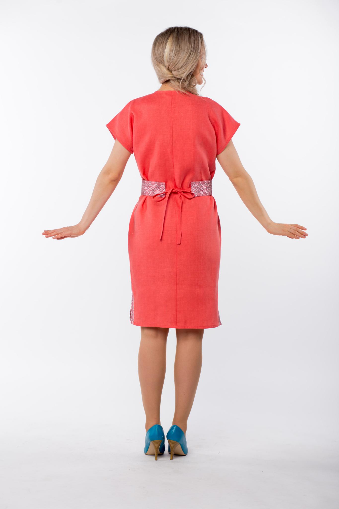 Платье льняное Шафран вид сзади